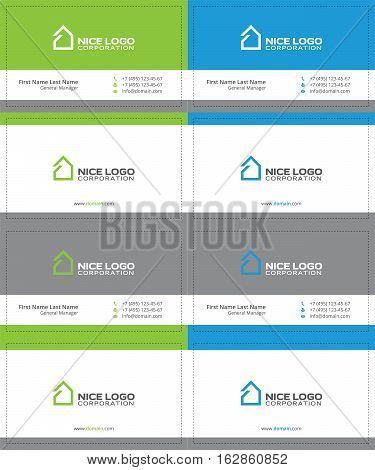 simple house business cards, gray, green and blue colors