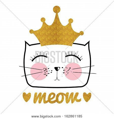 Cute Hand Drawn Cat Vector Illustration. Little Princess with Crown Concept EPS10