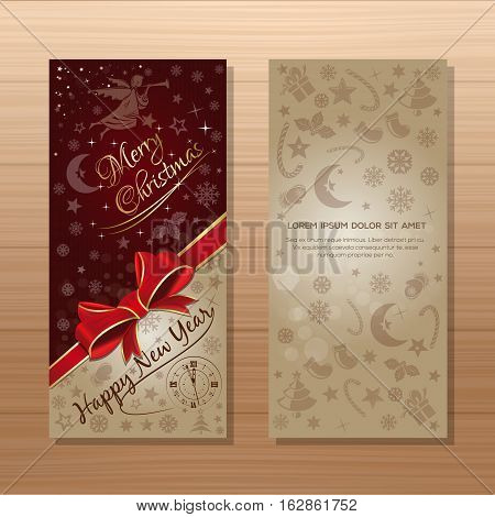 Christmas banner set. Merry Christmas and Happy New Year. Dark-red and beige background with Christmas angel and Christmas decorative elements. Vector gift card