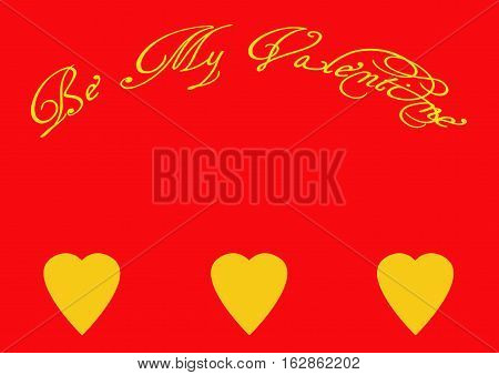 Be My Valentine Wish on a Red Background