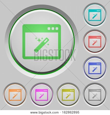 Application wizard color icons on sunk push buttons