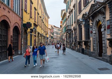 Shopping Street Corso Italia In The Old Town Of Pisa, Italy