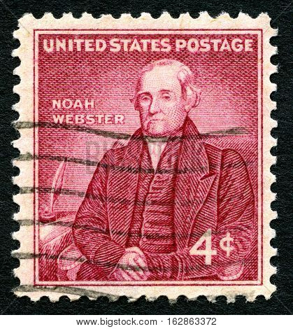 UNITED STATES OF AMERICA - CIRCA 1958: A used postage stamp from the USA depicting an illustration of famous American lexicographer Noah Webster circa 1958.