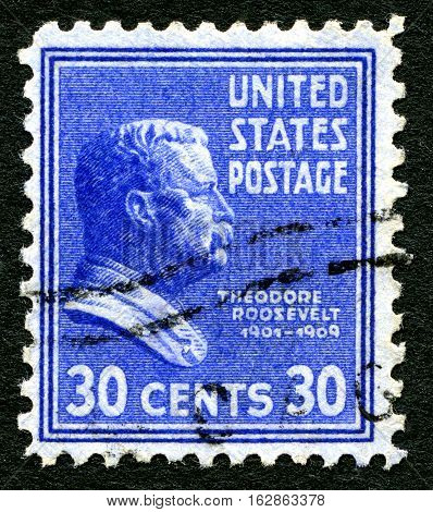 UNITED STATES OF AMERICA - CIRCA 1938: A used postage stamp from the USA depicting an illustration of Theodore Roosevelt - the 26th President of the United States circa 1938.