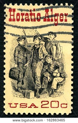 UNITED STATES OF AMERICA - CIRCA 1982: A used postage stamp from the USA depicting an illustration Frontispiece from