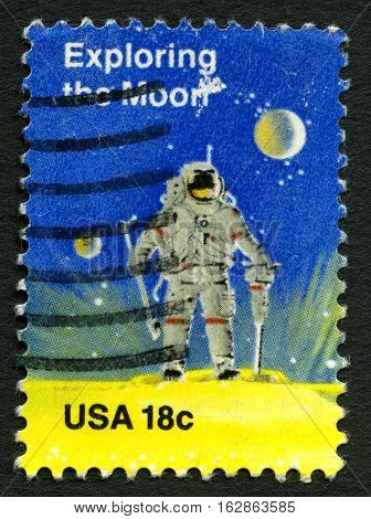 UNITED STATES OF AMERICA - CIRCA 1981: A used postage stamp from the USA depicting an illustration of an Astronaut walking on the Moon celebrating achievements in Space circa 1981.