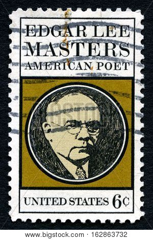 UNITED STATES OF AMERICA - CIRCA 1970: A used postage stamp from the USA celebrating famous American poet Edgar Lee Masters circa 1970.