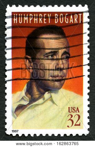 UNITED STATES OF AMERICA - CIRCA 1997: A used postage stamp from the USA celebrating famous Hollywood actor Humphrey Bogart circa 1997.
