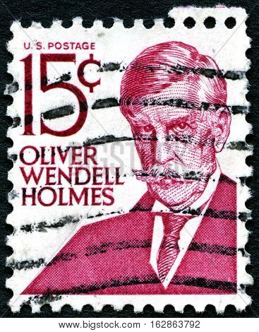 UNITED STATES OF AMERICA - CIRCA 1968: A used postage stamp from the USA depicting a portrait of famous American Physician Oliver Wendell Holmes circa 1968.