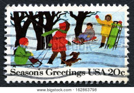 UNITED STATES OF AMERICA - CIRCA 1982: A used postage stamp from the USA wishing Seasons Greetings for Christmas circa 1982.