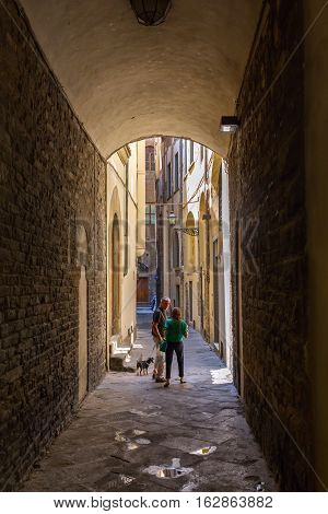 Narrow Alley In The Old Town Of Florence, Italy