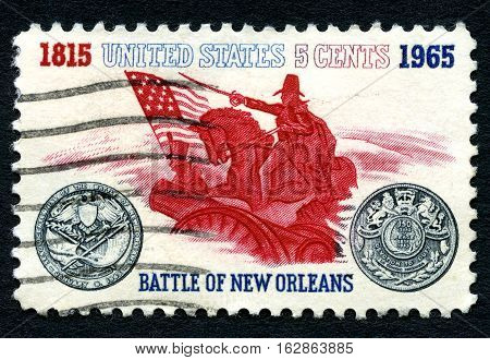 UNITED STATES OF AMERICA - CIRCA 1965: A postage stamp from the USA commemorating the 150th Anniversary of the Battle of New Orleans circa 1965.
