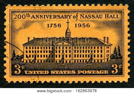 UNITED STATES OF AMERICA - CIRCA 1956: A used postage stamp from the USA commemorating the 200th Anniversary of Nassau Hall - the oldest building at Princeton University circa 1956.