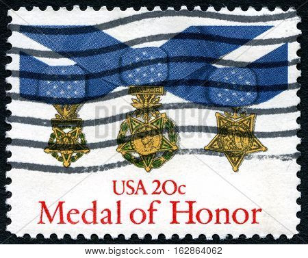UNITED STATES OF AMERICA - CIRCA 1983: A used postage stamp from the USA depicting an illustration of a Medal of Honor - the USAs highest military award circa 1983.