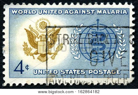 UNITED STATES OF AMERICA - CIRCA 1962: A used postage stamp from the USA dedicated to a World Against Malaria circa 1962.