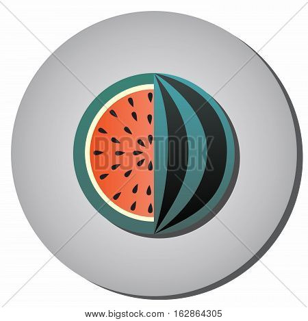Icon striped watermelon with seeds in a cut on a gray background. Illustration of healthy food and beauty flat style.
