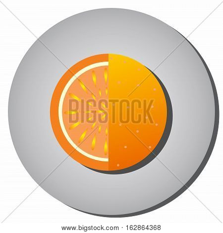 Icon of ripe juicy fruit oranges grapefruit sectional-style flat on a gray background. Illustration of fruit eating healthy