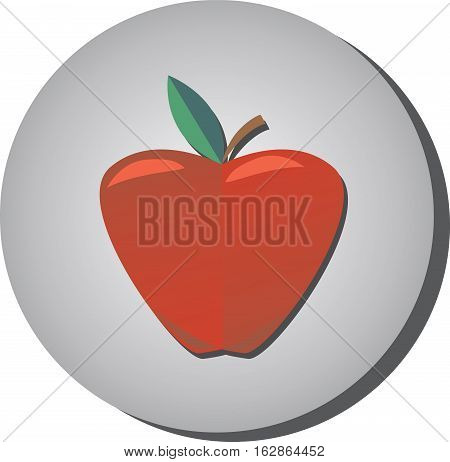 Icon of ripe juicy red apple in style flat on a gray background. Illustration of fruit eating healthy