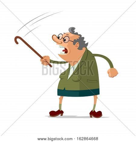 Angry old woman scolding someone waving her cane