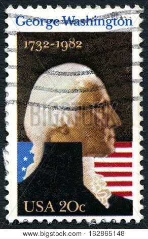 UNITED STATES OF AMERICA - CIRCA 1982: A used postage stamp from the USA depicting a portrait of first President of the United States George Washington circa 1982.