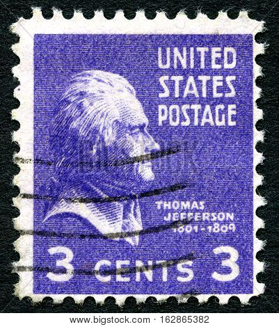 UNITED STATES OF AMERICA - CIRCA 1938: A used postage stamp from the USA portraying an illustration of former US President Thomas Jefferson circa 1938.