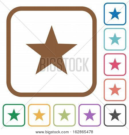 Favorite simple icons in color rounded square frames on white background