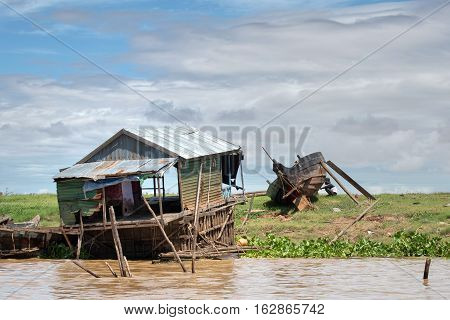 One of many floating houses and structures at Tonle Sap Lake in Cambodia, the largest lake in southeast Asia
