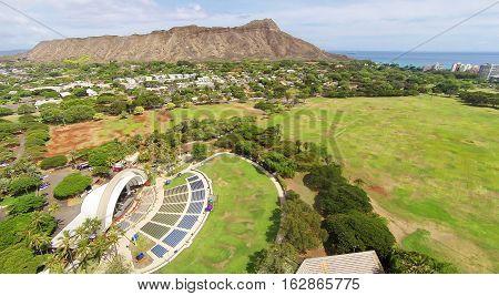 Aerial view of Kapiolani Park, Diamond Head and the Waikiki Shell amphitheater in Honolulu, Hawaii