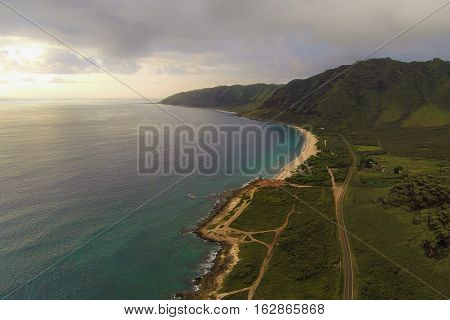 Beautiful aerial view of Makaha and the northwest shore of Oahu, Hawaii