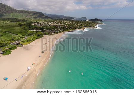 Aerial view of Makaha Beach, original surfing beach, on northwest shore of Oahu, Hawaii