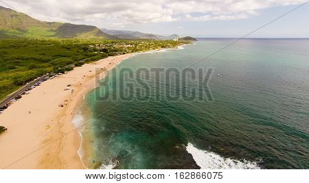 Aerial view of Makaha Beach, the original surfing beach, on the west coast of Oahu, Hawaii