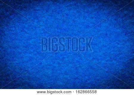 Background And Texture Of Melange Fuzzy Woolen Cloth Of Blue Color. Close Up. Vignette.