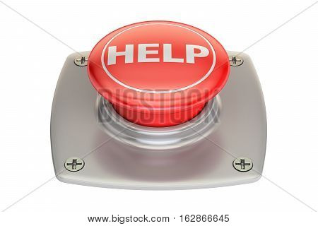 Help red button 3D rendering isolated on white background