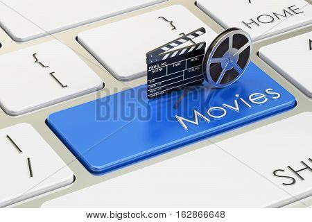 Movies concept on blue keyboard button 3D rendering