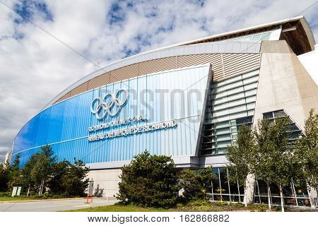 VANCOUVER - JULY 10: The Richmond Olympic Oval in the city of Richmond BC July 10 2016. It was built for the 2010 Winter Olympics and was originally configured with an speed skating rink. It now serves as a community multi-sport park.