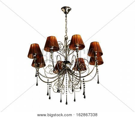 Ceiling light. Vintage chandelier. Isolated white background.