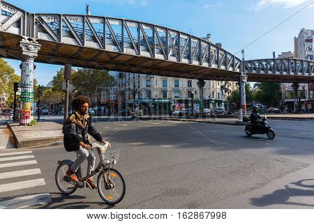 Elevated Metro At Avenue Jean Jaures In Paris, France