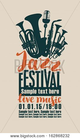 poster for the jazz festival with saxophone wind instruments and a microphone