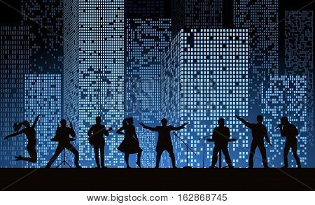 Band Show On Night City Background At Blue Style. Festival Concept. Set Of Silhouettes Of Musicians,