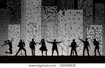 Band Show On Night City Background At Grey Style. Festival Concept. Set Of Silhouettes Of Musicians,