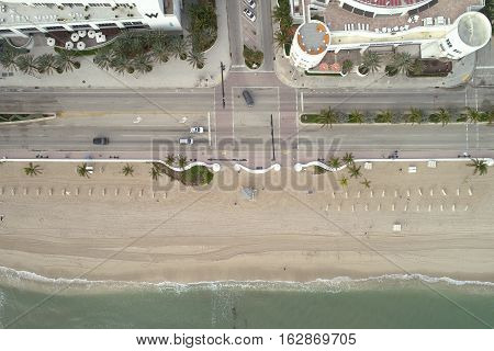 Aerial drone image of hotels on Fort Lauderdale Beach FL