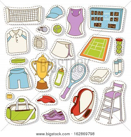 Tennis icon set tournament patches. Vector tennis icons digital and print projects court fitness equipment. Sport championship professional patchwork game symbols.
