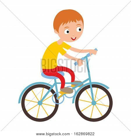 Activity boy on bike young fun sport. Little kid cyclist healthy childhood leisure. Happy child active lifestyle cartoon recreation vector illustration.