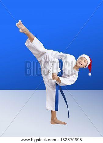 Karateka hits a high roundhouse kick on the blue background