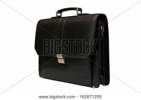 Black leather briefcase. Isolated white background. Bag for carrying papers.