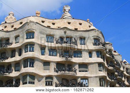 Casa Mila in Barcelona, , capital city of Catalonia