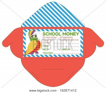 Personalized school money envelop with teacher notes.Funny exotic bird.Vector template packet