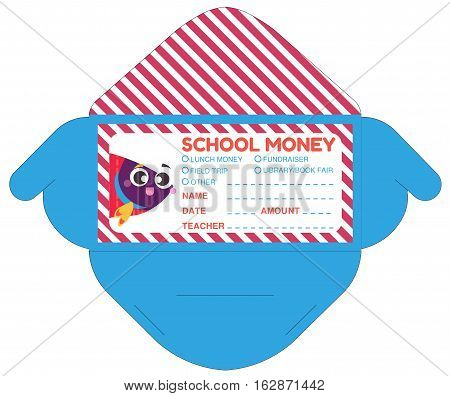 Personalized school money envelop with teacher notes.Funny exotic fish.Vector template packet
