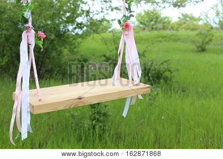 Empty swing in nature, blurred green background