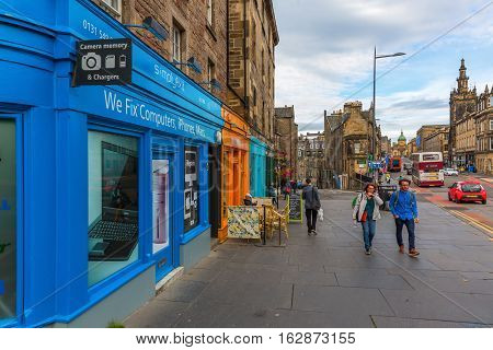 Road In The Old Town Of Edinburgh, Scotland, Uk